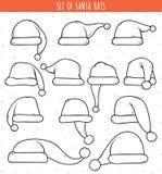 Set of 12 monochrome doodle hats Santa Claus Stock Photos