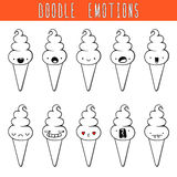 Set of 10 monochrome doodle ice cream with emotions. Dessert Royalty Free Stock Photography
