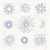 Set of monochrome doodle moon and different suns. On notebook paper Stock Photo