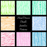 Set of 8 monochrome doodle seamless patterns Stock Images