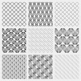 Set of 4 monochrome elegant seamless patterns.  Stock Images