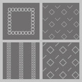 Set of 4 monochrome elegant seamless patterns. Bright stripes and squares on a black background Stock Image