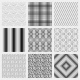 Set of 9 monochrome elegant seamless patterns Stock Image