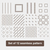 Set of 12 monochrome elegant seamless patterns Royalty Free Stock Photo