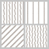 Set of 4 monochrome elegant seamless patterns. He original vector background patterned sloping dark stripes on a white background Stock Photo