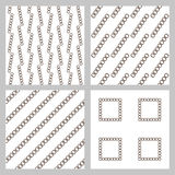 Set of 4 monochrome elegant seamless patterns. The original vector background patterned sloping dark stripes on a white background Stock Images