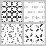 Set of 4 monochrome elegant seamless patterns. Vector seamless geometric pattern in a contrasting black and white tones.  Monochrome background of Royalty Free Stock Images