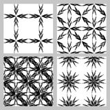 Set of 4 monochrome elegant seamless patterns. Vector seamless geometric pattern in a contrasting black and white tones.  Monochrome background of Stock Photos