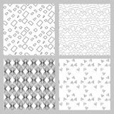 Set of 4 monochrome elegant seamless patterns. Vector seamless geometric pattern in a contrasting black and white tones Royalty Free Stock Image