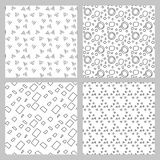 Set of 4 monochrome elegant seamless patterns. Vector seamless geometric pattern in a contrasting black and white tones Stock Photography