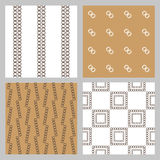 Set of 4 monochrome elegant seamless patterns. Vector seamless geometric pattern in a contrasting sepia. Monochrome intricate pattern of square frames Royalty Free Stock Photo