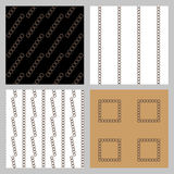 Set of 4 monochrome elegant seamless patterns. Vector seamless geometric pattern in a contrasting sepia. Monochrome intricate pattern of square frames Royalty Free Stock Images