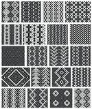 Set of 20 monochrome elegant seamless patterns. Vector ornaments. May be used as background, backdrop Royalty Free Stock Images
