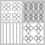 Set of 4 monochrome elegant seamless patterns. Vector pattern as a gray diagonal bars on a white background. Seamless pattern. Monochrome elegant seamless Stock Image