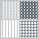 Set of 4 monochrome elegant seamless patterns. Vector seamless pattern in the form of an openwork lattice on a white background Stock Image