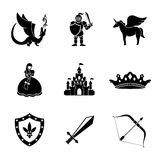 Set of monochrome fairytale, game icons with - Royalty Free Stock Image