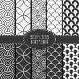 Set of monochrome fashion geometri seamless Stock Images