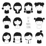 Set of monochrome female faces icons. Funny Royalty Free Stock Images