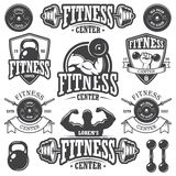 Set of monochrome fitnes emblems Stock Photos