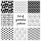 Set of monochrome geometric ornaments vector illustration