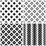 Set of 4 monochrome geometric seamless patterns. Stock Photos