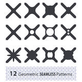 Set of monochrome geometric seamless patterns. Can be used for w Royalty Free Stock Image