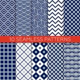 Set of monochrome geometric seamless patterns Royalty Free Stock Image