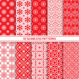 Set of monochrome geometric seamless patterns. Set of seamless oriental geometric patterns in red and white color. Endless texture for wallpaper, web design Stock Photos