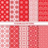 Set of monochrome geometric seamless patterns Stock Photos