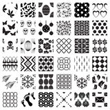 Set of monochrome geometric seamless patterns Stock Images