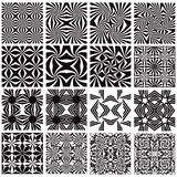Set of monochrome geometric seamless patterns. Stock Photo