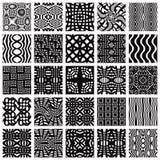 Set of monochrome geometric seamless patterns. Stock Photo