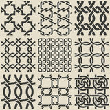 Set of monochrome geometric seamless patterns Stock Photography