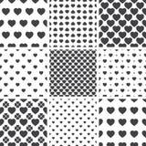 Set of monochrome geometric seamless universal patterns, tiling. Royalty Free Stock Photography