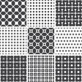 Set of monochrome geometric seamless universal patterns, tiling. Stock Images