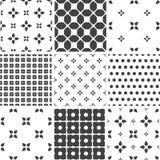 Set of monochrome geometric seamless universal patterns, tiling. Royalty Free Stock Photo