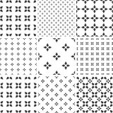Set of monochrome geometric seamless universal patterns, tiling. Royalty Free Stock Images
