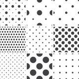 Set of monochrome geometric seamless universal patterns, tiling. Royalty Free Stock Photos