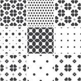 Set of monochrome geometric seamless universal patterns, tiling. Stock Photography