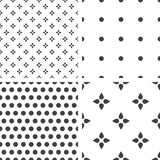 Set of monochrome geometric seamless universal patterns, tiling. Royalty Free Stock Image