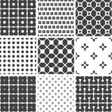 Set of monochrome geometric seamless universal patterns, tiling. Stock Image
