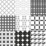 Set of monochrome geometrical patterns Royalty Free Stock Photos