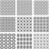 Set of monochrome geometrical patterns Stock Photography