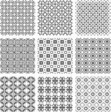 Set of monochrome geometrical patterns Stock Photography