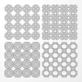 Set monochrome geometrical seamless patterns. Stock Images
