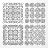 Set monochrome geometrical seamless patterns. Stock Photos