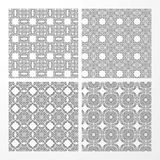 Set monochrome geometrical seamless patterns. Royalty Free Stock Photo