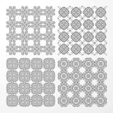 Set monochrome geometrical seamless patterns. Royalty Free Stock Photography