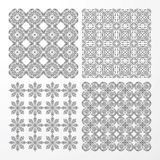 Set monochrome geometrical seamless patterns. Stock Photo