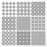 Set monochrome geometrical seamless patterns. Stock Photo